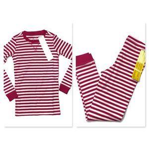 Primary Pink & White Stripe Pajama Set  Sz 8/9